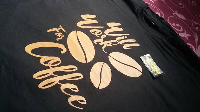Sablon Kaos Kopi dengan Merch atau Brand Sendiri