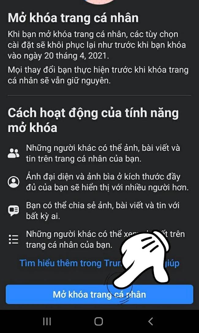 Cách khóa bảo vệ trang cá nhân trên Facebook
