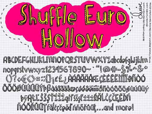 download free sketched hollow chalk font