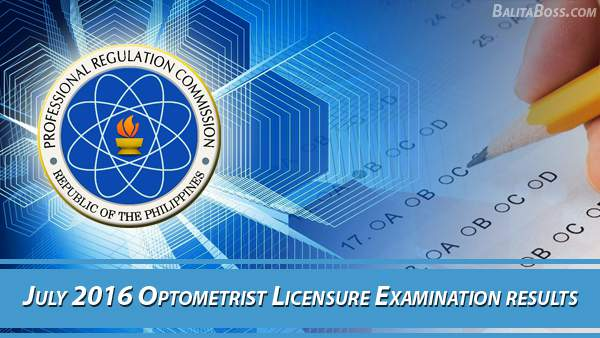 Optometrist July 2016 Board Exam Results