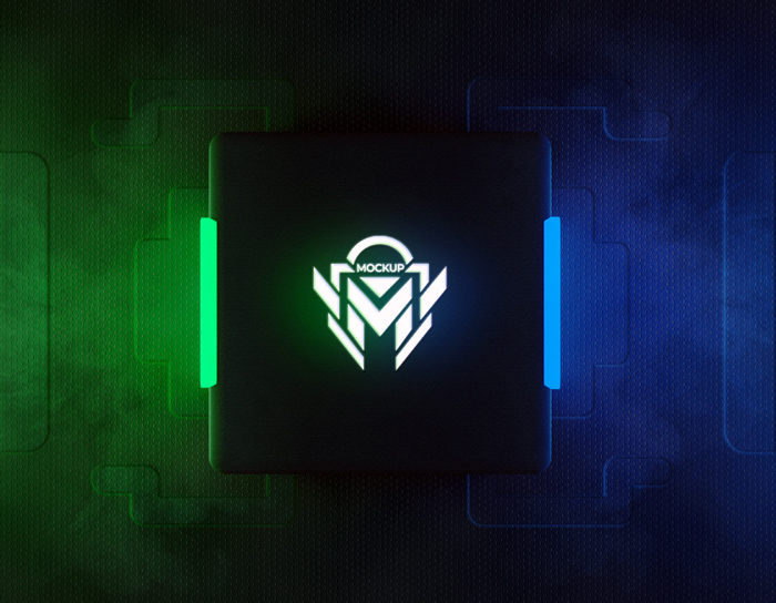 3D Neon Logo Mockup With Green Blue Reflective Neon Light