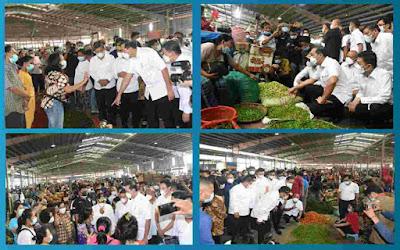 Kunjungan Kerja Mendag Muhammad Lutfi di Pasar Raya MMTC Percut Sei Tuan