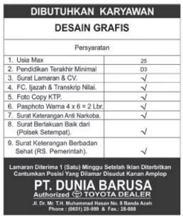 PT.Dunia Barusa - Lowongan Kerja Terbaru Banda Aceh