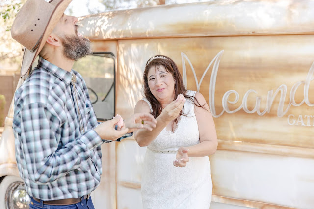 cake cutting with an international metro van during a pop up wedding in az