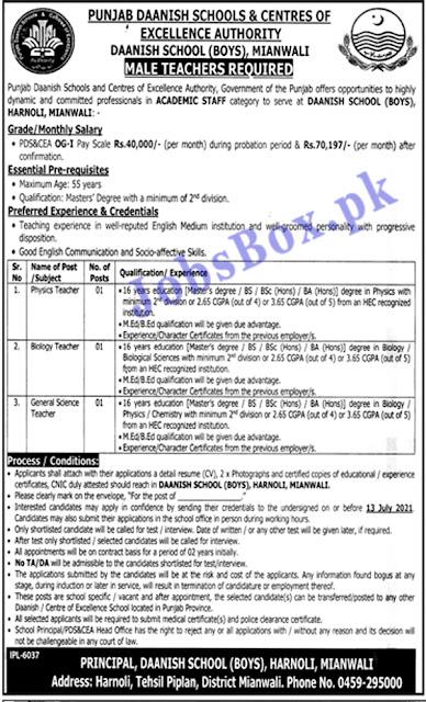 Punjab Daanish School Mianwali Jobs 2021 – Teaching Staff