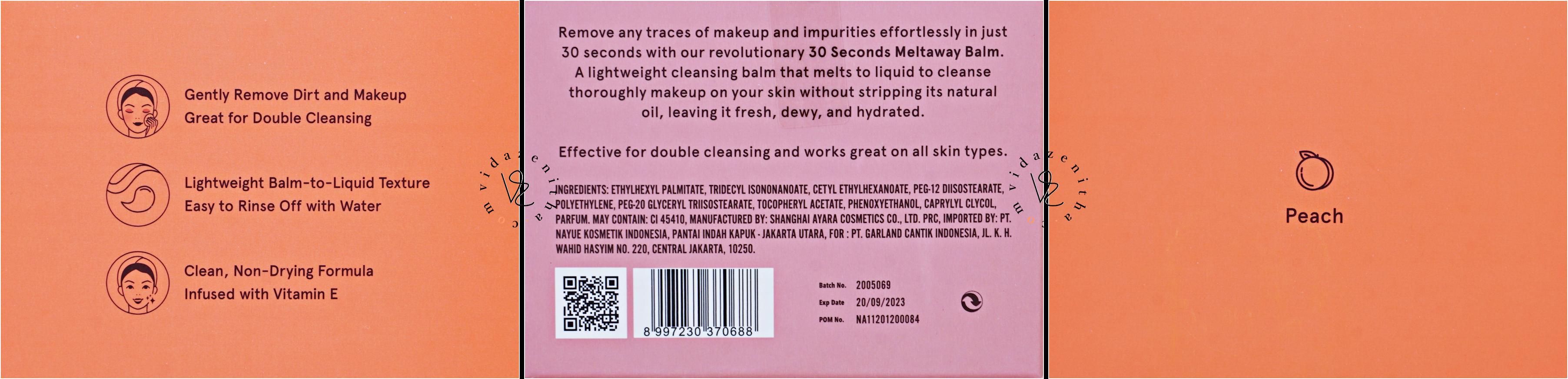 deskripsi produk cleangsing balm 30 seconds meltaway Dear Me Beauty