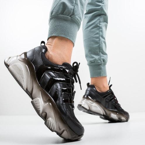 Adidasi negri moderni cu platforma groasa din piele
