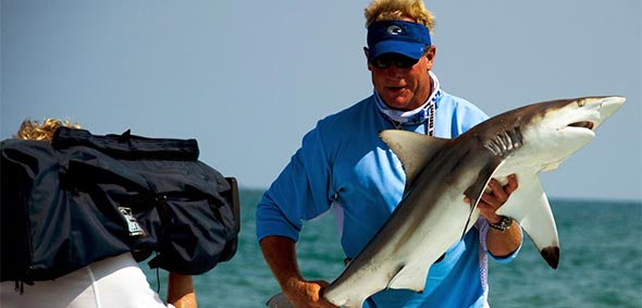 Capt Blair Wiggins Holding Spinner Shark