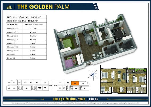 Mặt bằng căn B5 tòa B chung cư The Golden Palm