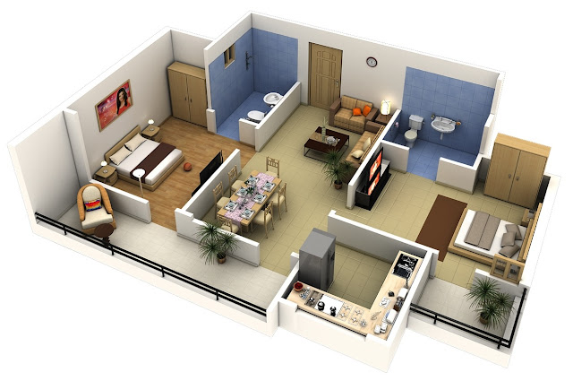 Gambar Denah Rumah Minimalis 2 Kamar