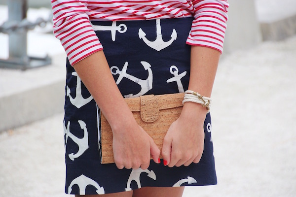 Gimme Glamour: Anchors by the Lighthouse. Anchor skirt with striped shirt, cork clutch and KJP anchor bracelet.