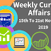 Weekly Current Affairs 15th To 21st November 2019
