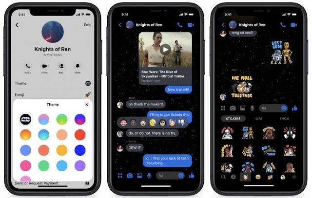 Facebook Messenger menghadirkan tema baru Star Wars dark theme