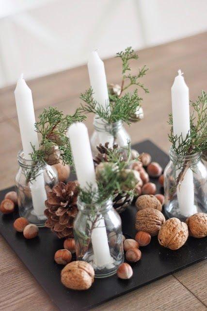 Enfeite de Natal com casca de nozes