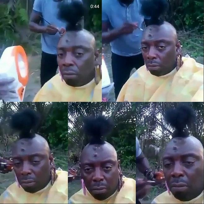 Segun Arinze's Hideous Makeover Transformation On Movie Set
