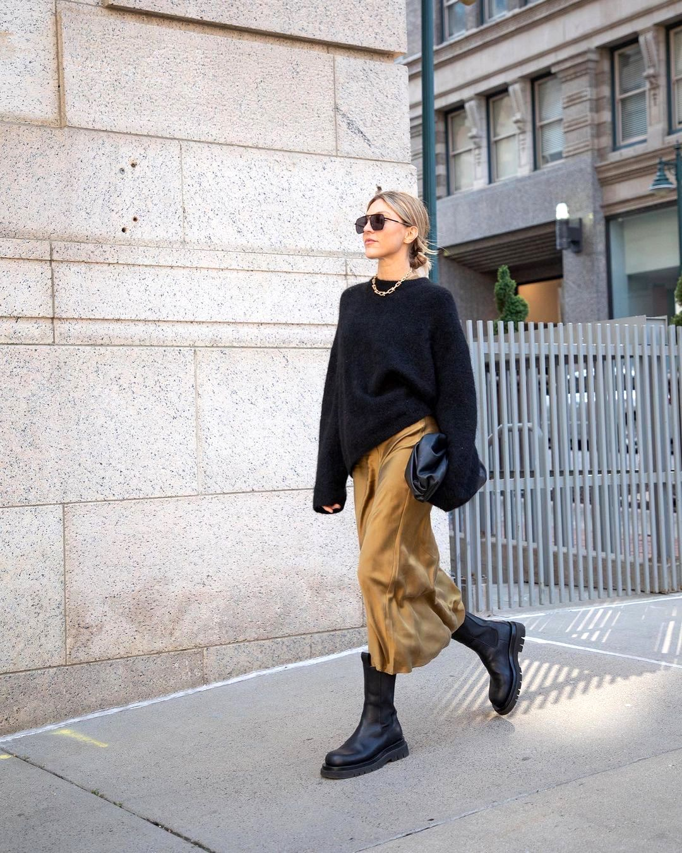 How to Wear a Satin Skirt for Fall Outfit Idea Stepsofstyle – Black Sweater, Bottega Veneta Clutch Bag, Black Lug Sole Boots