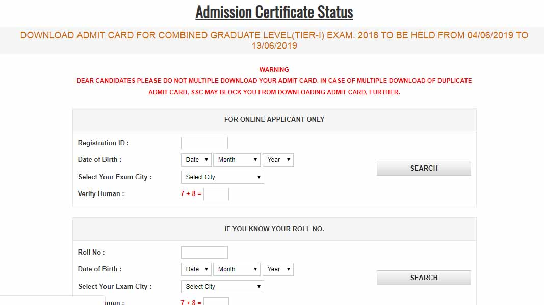 SSC CGL 2018 Application Status Released CR