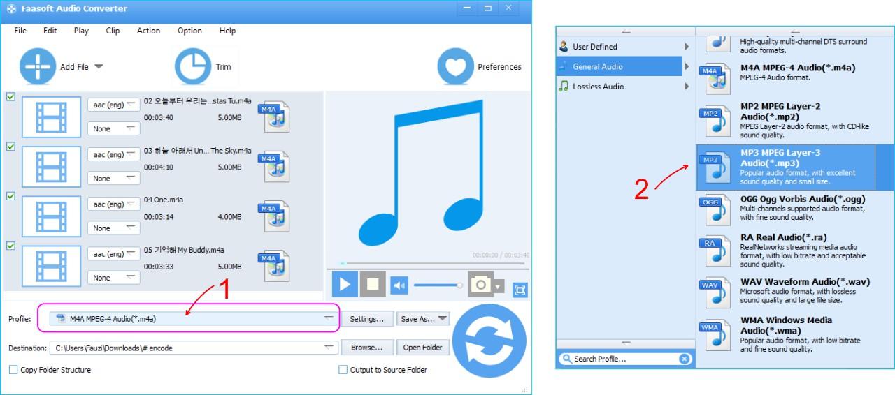 Faasoft Audio Converter - Pilih Pengaturan Profile