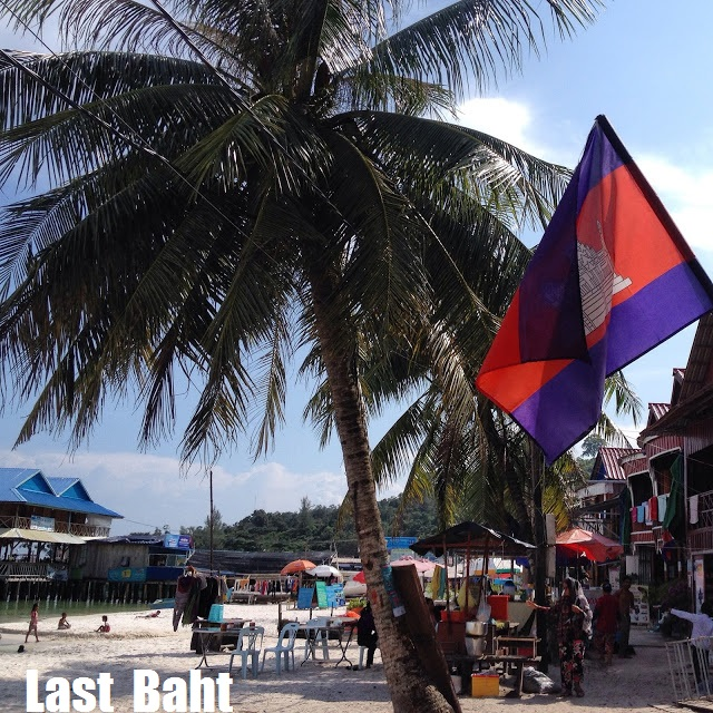 cambodian flag flying over the beach of Koh Rong island