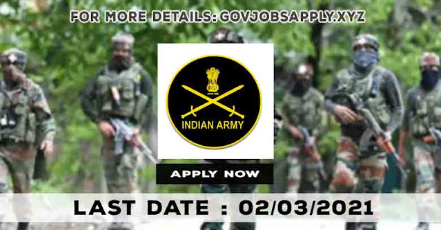 Indian Army Recruitment Rally Notification Details 2021 | Last Date 02nd March 2021
