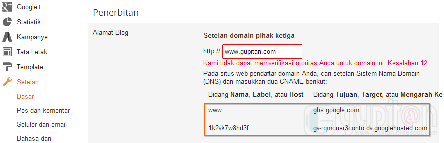 Cara Setting Custom Domain Blogger di Namecheap gupitan