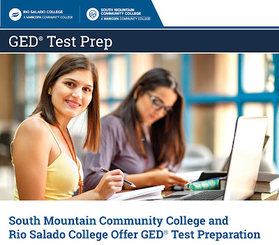Poster featuring a female student taking a break from studying.  Text: GED® Test Prep.  South Mountain Community College and Rio Salado College Offer GED® Test Preparation.