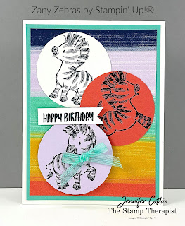 Birthday card with Stampin' Up!®'s Zany Zebras set!  See blog for video & supply list.  #StampinUp #StampTherapist