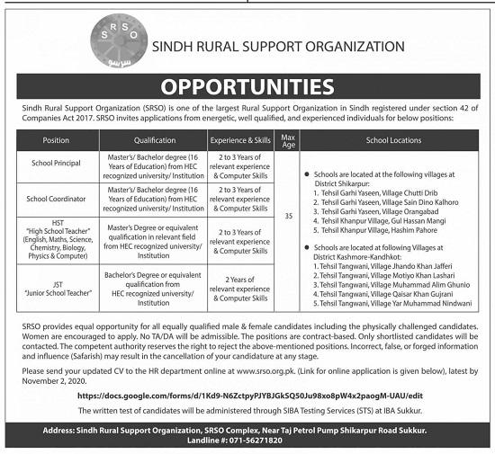 sindh-rural-support-organization-srso-jobs-2020-sukkur-apply-online