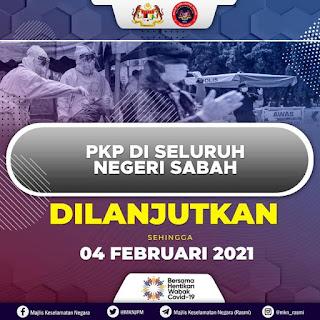 PKP Di Negeri Sabah Dilanjutkan Sehingga 4 Februari 2021