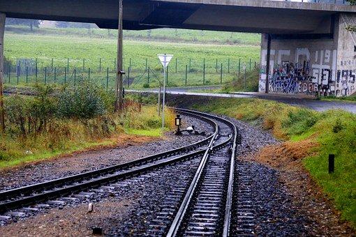 Tory kolejowe, które rozwidlają się w kształcie V