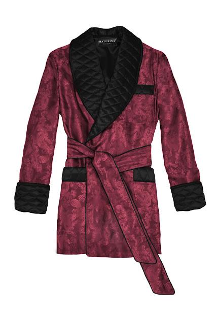 mens silk smoking jacket robe burgundy paisley black quilted dressing gown gentleman