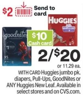 huggies cash card deals
