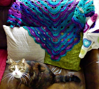 Virus pattern crochet shawl with long-whiskered cat Xena looking at me accusingly because I won't let her snuggle in it