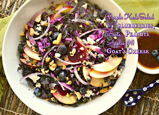 Purple Kale Salad with Blueberry Lime Vinaigrette and a #WholeFoods#Giveaway