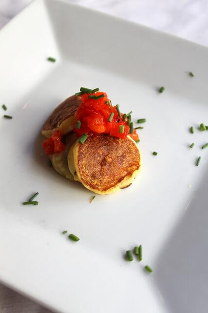 Chef Steve Morris Amuse-Bouche: Eggplant Caviar with Potato Pancakes