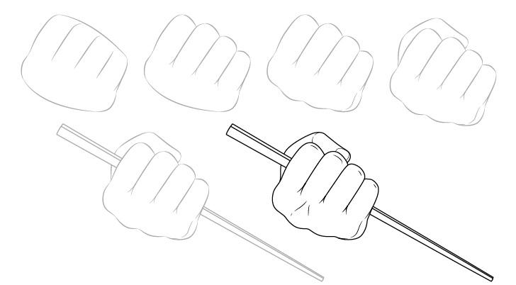 Tangan memegang sumpit dalam gambar kepalan tangan selangkah demi selangkah