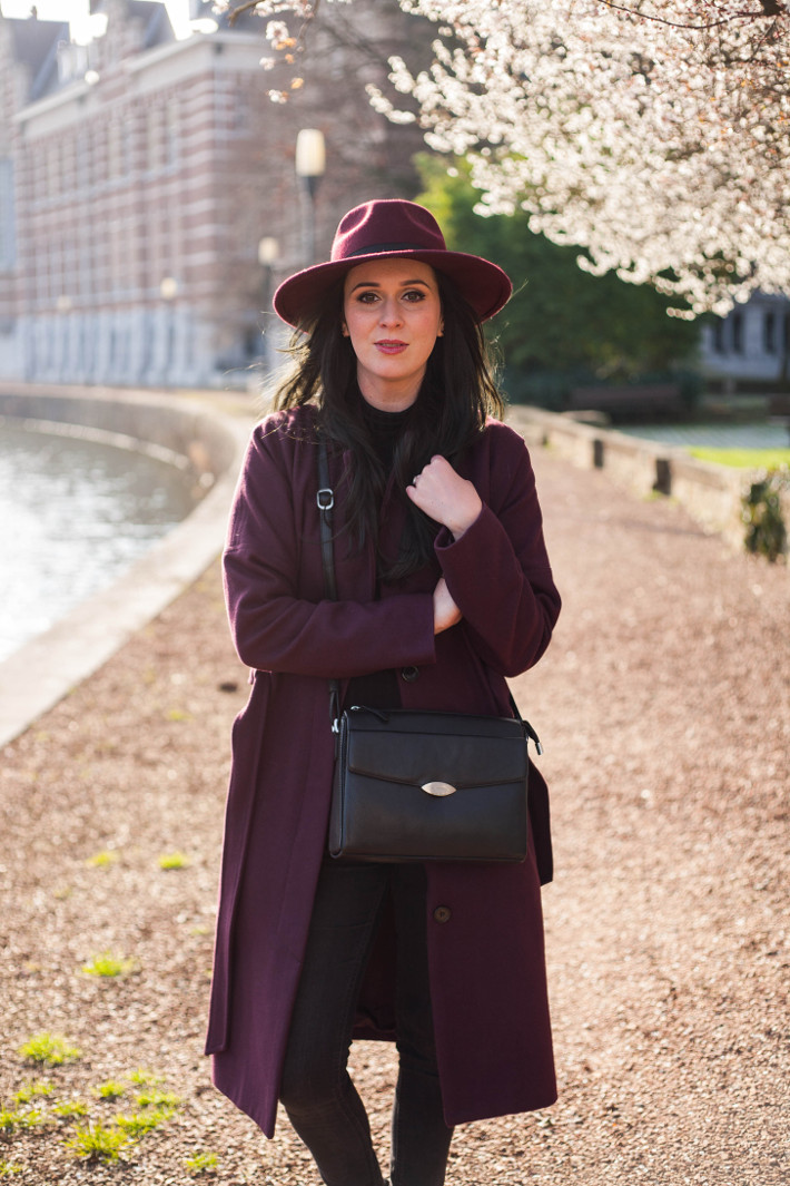 a8b98714b62 Outfit  robe coat and hat under the first spring blossoms - THE ...
