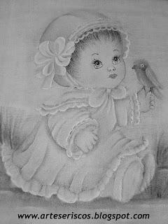 desenho menina para pintar em fraldas