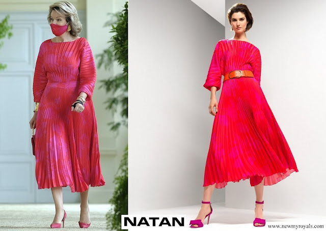 Queen Mathilde wore Natan red pleated dress