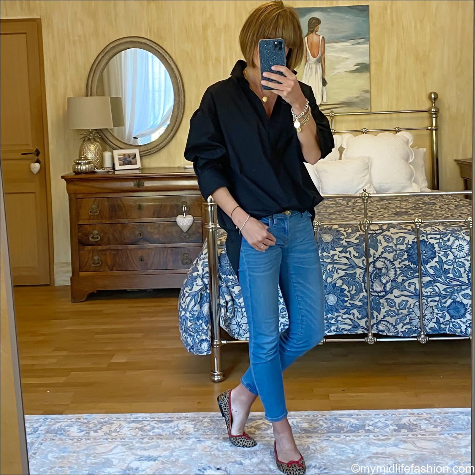 my midlife fashion, zara oversized shirt, j crew 8 inch toothpick jeans, French sole cheetah print ballet pumps