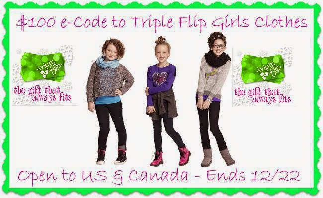 Enter the $100 e-Code Triple Flip Girls Clothes Giveaway. Ends 12/22