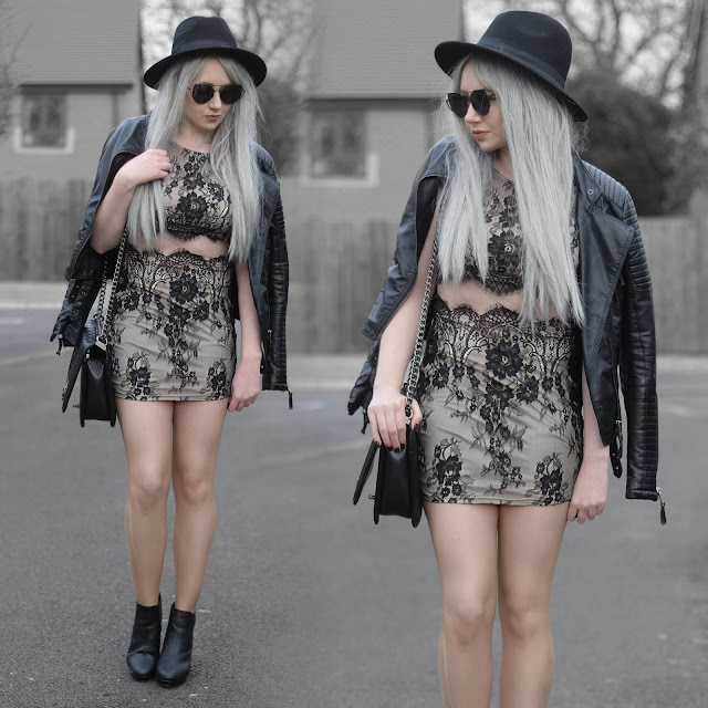 Sammi Jackson - Primark Black Fedora / Zaful Sunglasses / Tobi Darkest Desire Lace Bodycon Dress / Shein Biker Jacket / OASAP Quilted Flap Bag / Office Chunky Heeld Boots