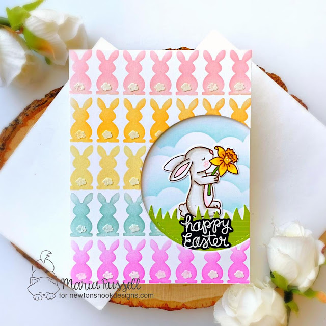 Colorful Easter Bunnies Card by Maria Russell | Hop Into Spring Stamp Set, Bunny Tails Stencil Set, Clouds Stencil, Circle Frames Die Set and Land Borders Die Set by Newton's Nook Designs #newtonsnook #handmade