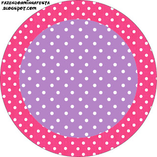 Pink, Purple and White Polka Dots Free Printable Cupcake Toppers.