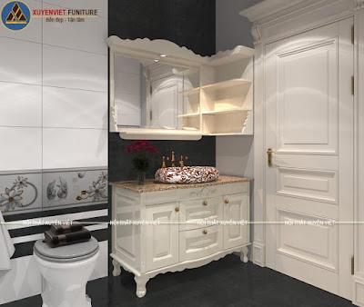 Tủ lavabo tân cổ điển nhà chị Phương - Thái Bình