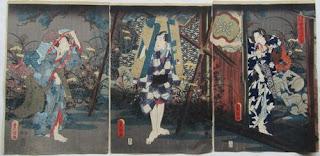 歌川三代豊国 四季の内 古寺の夕立の浮世絵版画販売買取ぎゃらりーおおの