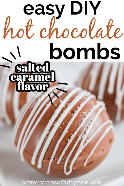 salted caramel hot chocolate bomb with text overaly