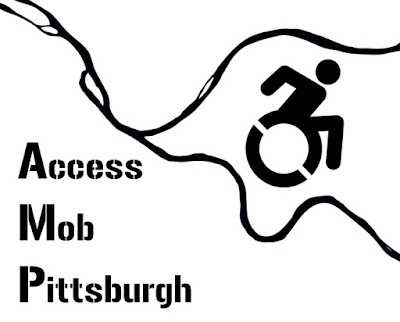 [Logo: The three rivers of Pittersburgh in black with the wheelchair symbol between the rivers and Access Mob Pittsburgh written on the bottom left.]