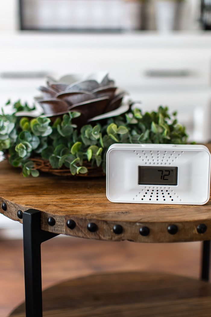 First Alert CO alarm on tabletop