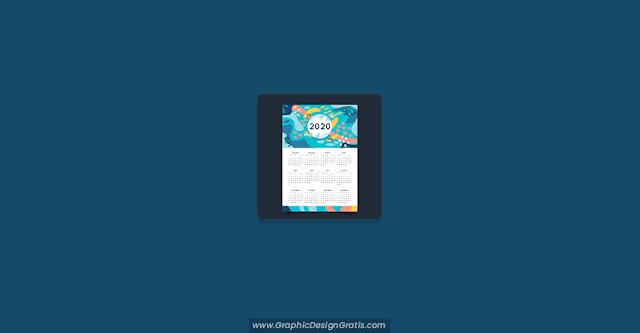 Calendario 2020 con diseño abstracto